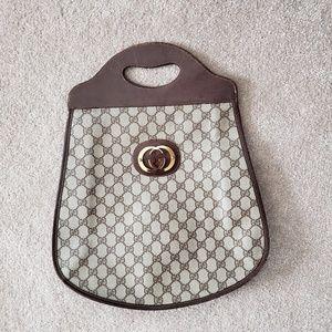 Brown Vintage Gucci Shopper Tote Handbag